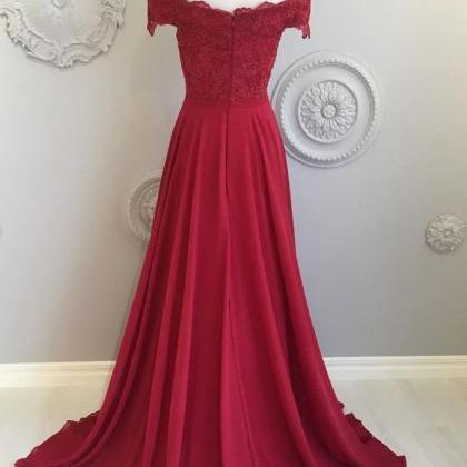 Burgundy Lace Prom Dress,Off The Sh..