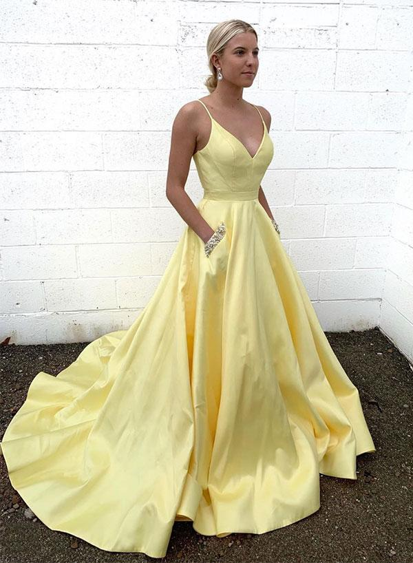 Yellow v neck satin long prom dress with pockets,spaghetti straps evening dress