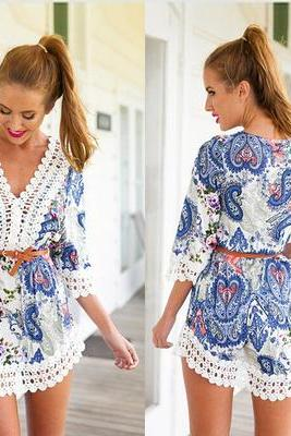 Europe and America sexy V neck Lace printing Dress