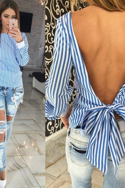 sexy Backless Hollow Bandage stripe shirt,Ladies dress,women long sleeve tops,women blouses