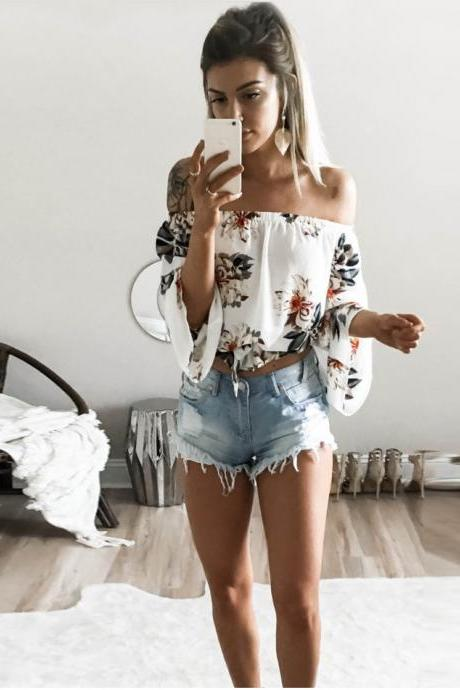 sexy strapless printing Jacket,Off Shoulder T-shirt