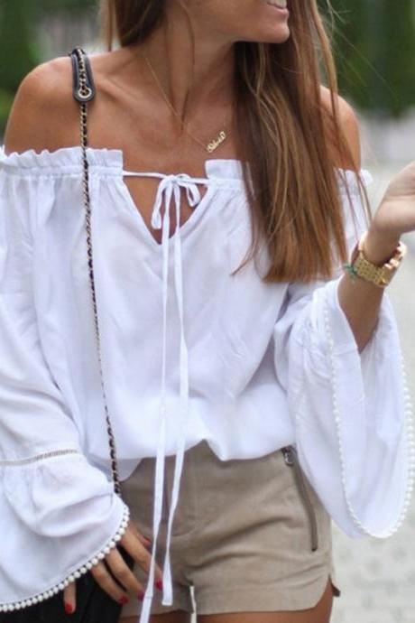 While Ruffled Off-The-Shoulder Long Flare-Sleeved Top Featuring Pom-Pom Trim