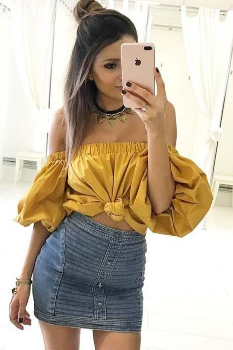 Mustard Yellow Off-The-Shoulder Short Puff-Sleeved Top