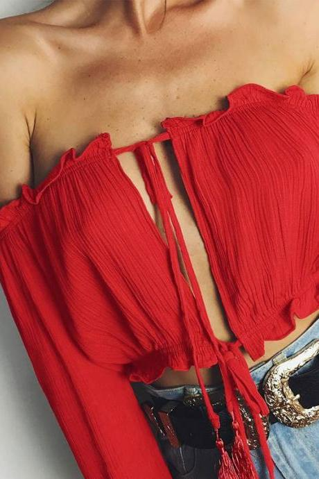 Red Chiffon Ruffled Off-The-Shoulder Long Cuff-Sleeved Cropped Top Featuring Tassel Drawstring