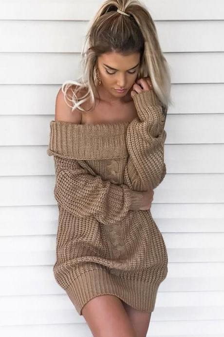 Knitted Off-The-Shoulder Long Cuffed Sleeves Short Sweater Dress
