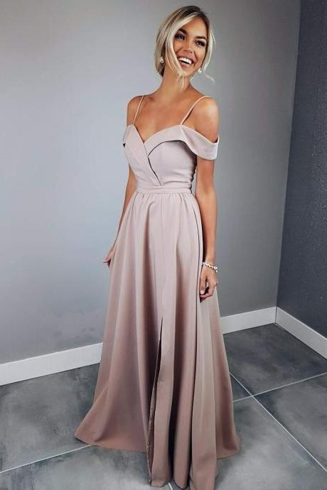 Elegant Off Shoulder Straps Long Maxi Dress,Slit Side Evening Dress