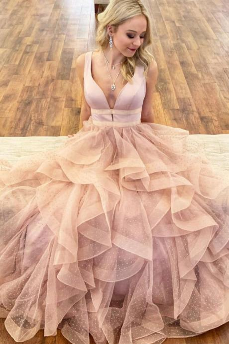 2019 Pink V-Neck Homecoming Dress,Sleeveless Long Prom Dress,Fashion Party Dress