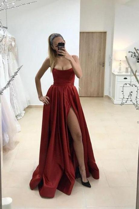 Simple Burgundy High Split Prom Dress,Long Evening Dress
