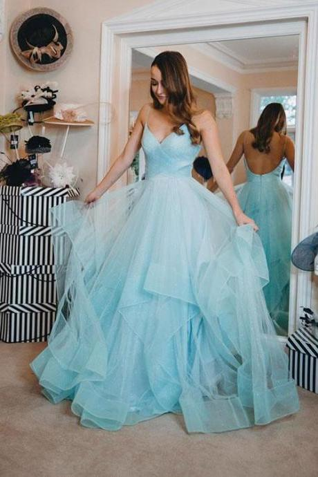 Light Blue V-Neck Tulle Prom Dress,2019 Homecoming Dress,Fashion Evening Dress