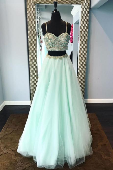 Sweetheart Green Beaded Tulle Prom Dress,Two Piece Tulle Homecoming Dress,A-Line Evening Dress