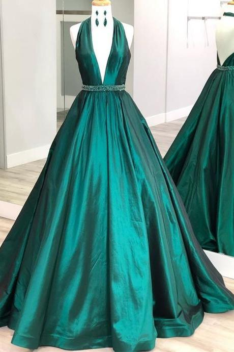 Sparkly Emerald Green V-Neck Prom Dress,Halter Backless Pageant Dress,Elegant Formal Gowns