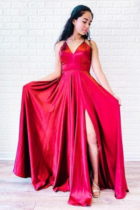 Princess Red V-Neck Split Side Long Prom Dress,Simple A-Line Evening Dress,Lace up Back Formal Dress