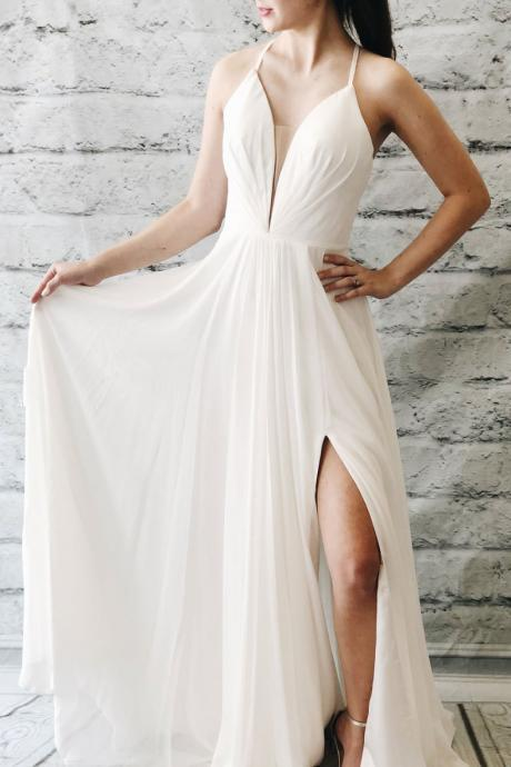 Simple white chiffon long prom dress,v-neck white evening dress,split side formal dress