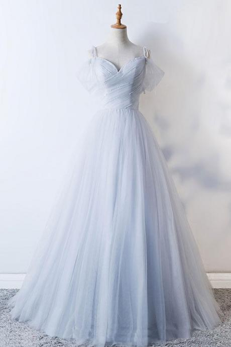 Grey sweetheart Tulle Prom Dress,Off Shoulder Evening Dress,Floor Length Ball Gowns
