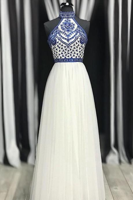 Princess High Neck White Tulle Prom Dress with Blue Embroidery