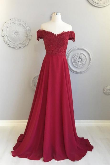 Burgundy Lace Prom Dress,Off The Shoulder Chiffon Evening Dress,Lace Long Bridesmaid Dress
