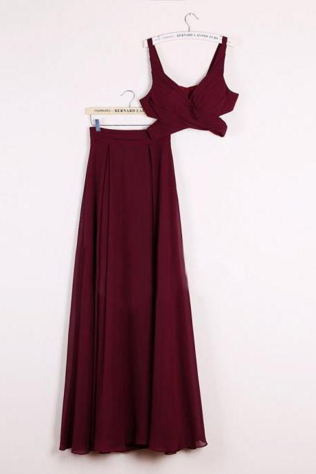 Simple Two Piece Prom Dresses,A-line Floor-length Burgundy Cheap Prom Dress