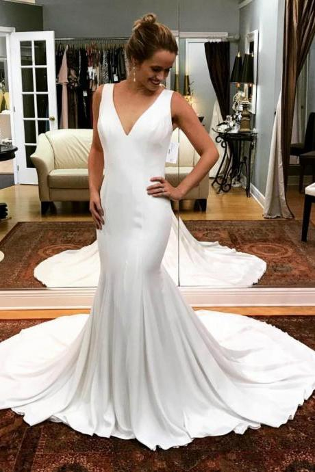 Sexy Mermaid White Bridal Dress,Satin Deep V-neck Backless Wedding Dress