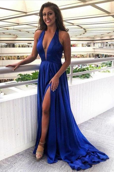 Gorgeous Royal Blue V-Neck Prom Dress,Halter Split Side Evening Gowns