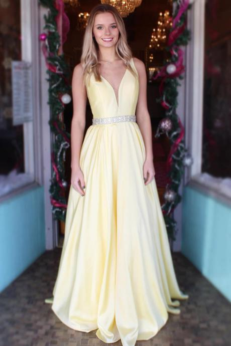 Princess A-Line Straps Yellow Long Prom Dress with Beaded Waist