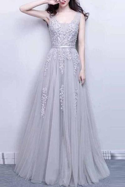 Gray A line Tulle Applique Beaded Prom Dress,2017 Elegant Bridesmaid Dress with Sash