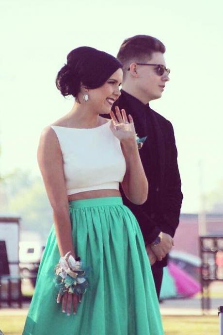 Simple Two Piece Long Prom Dress, A-line Green Prom Dress with White Top