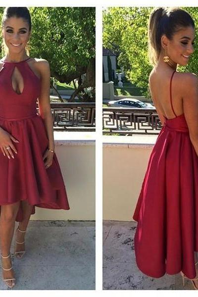Sexy High Low Halter Homecoming Dress,Backless Party Dress,Prom Dress with Keyhole