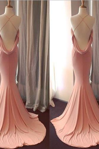 Charming Pink Mermaid Prom Dress,Cross Back Sweep Train Formal Party Dress
