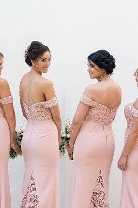 Off Shoulder Lace Prom Dress,Pink Mermaid Bridesmaid Dress,Floor Length Sweetheart Prom Dress