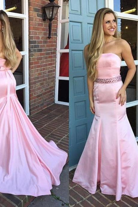 Pink Mermaid Prom Dress,Strapless Evening Dress,Beading Formal Dress with Train