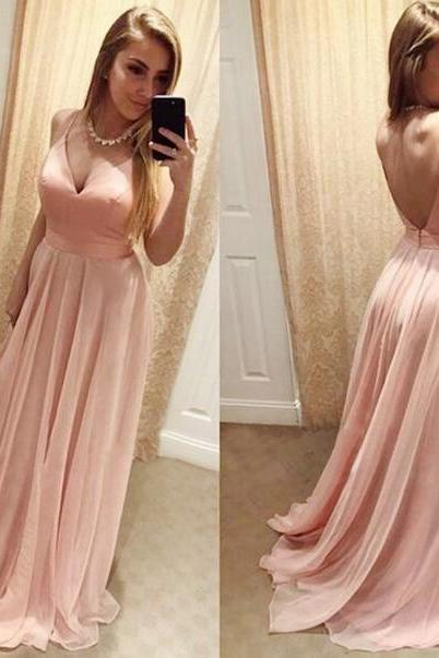 Pink A Line V Neck Long Prom Dress,Chiffon Evening Dress,Backless Formal Dress,Bridesmaid Dress