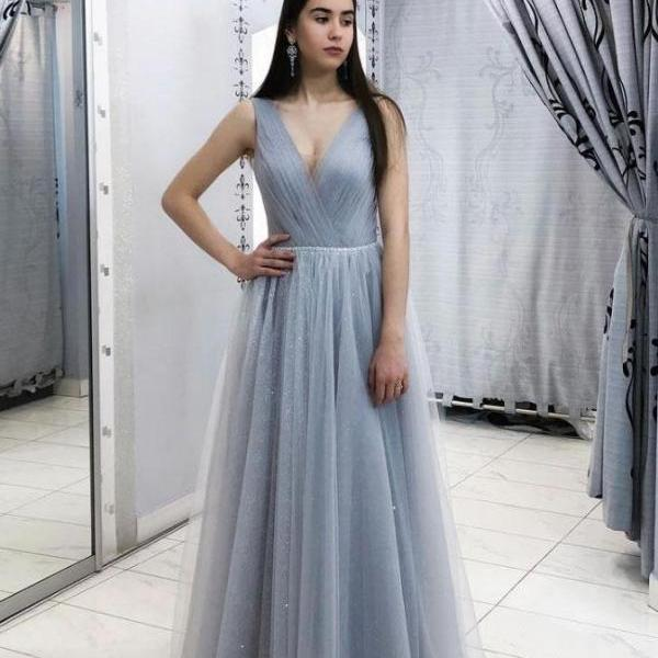 Simple Gray V-Neck Tulle Prom Dress,Floor Length A-Line Bridesmaid Dress with Sash